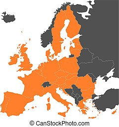 Map of Europe with highlighted 28 EU member states