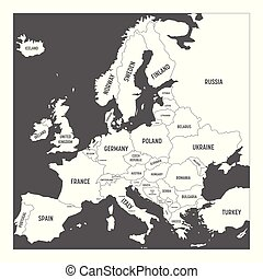 Map of Europe with names of sovereign countries, ministates included. Simplified white vector map on grey background