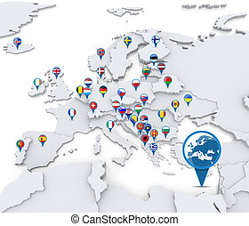 Map of Europe with national flags