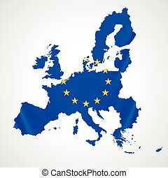 Map of European union and EU flag illustration.