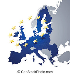 Vector Illustration of a map of European union and EU flag illustration