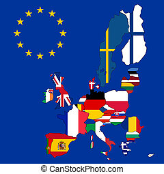 Map of European Union with 27 flags
