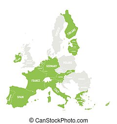 Map of Eurozone. States using Euro currency. Grey vector map...
