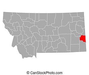 Map of Fallon in Montana