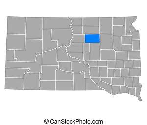 Map of Faulk in South Dakota