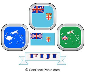 Fiji on world map map with highlighted fiji map and flag vector map button flag and symbol of fiji on a white background gumiabroncs Gallery