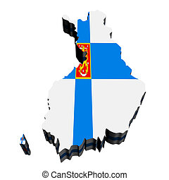 Map of Finland against white background. Close up.