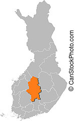 Map of Finland, Central Finland highlighted