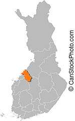 Map of Finland, Central Ostrobothnia highlighted