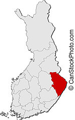 Map of Finland, North Karelia highlighted