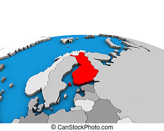 Map of Finland on 3D globe - Finland on political 3D globe....