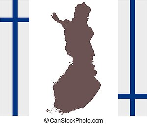 Map of Finland on background with flag