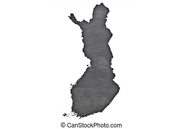 Map of Finland on dark slate