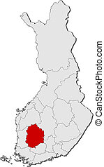 Map of Finland, Pirkanmaa highlighted
