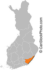 Map of Finland, South Karelia highlighted