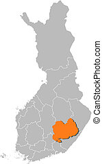 Map of Finland, Southern Savonia highlighted