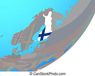 Map of Finland with flag on globe - Finland with embedded...