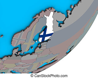 Map of Finland with flag on globe - Finland with national...