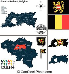 Vector map of Flemish Brabant region and location on Belgian map