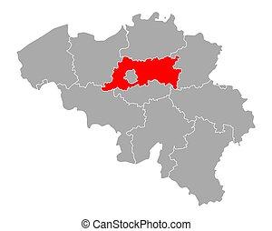 Map of Flemish Brabant in Belgium