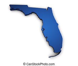 Map Of Florida 3d Shape - Shape 3d of Florida map colored in...