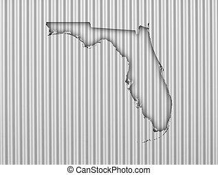 Map of Florida on corrugated iron