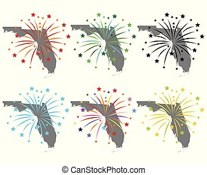 Map of Florida with fireworks