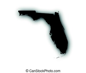 Map of Florida with shadow