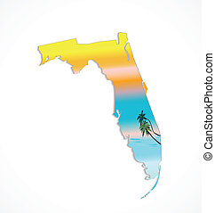 Map of Florida with sunshine and palms background vector