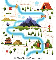 Map of forest or woods and mountain hiking tourism