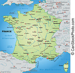 Map of France as an overview map in pastel green