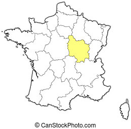 Map of France, Burgundy highlighted - Political map of...