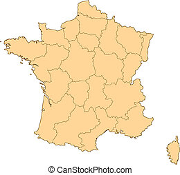 Map of France with the several provinces.