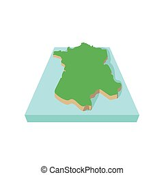 Map of France icon, cartoon style