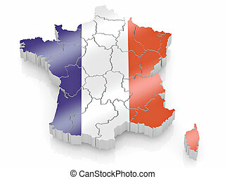 Map of France in French flag colors