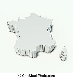 map of France in perspective and white