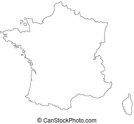 Map of France in white