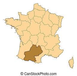 Map of France where Midi-Pyrenees is highlighted.