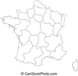 France political map with capital paris national borders
