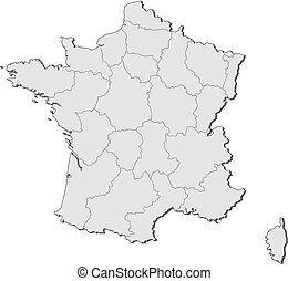 Map of France - Political map of France with the several...