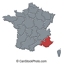 Political map of France with the several regions where Provence-Alpes-C?te d'Azur is highlighted.
