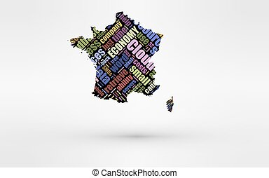 Map of France. Theme of economy and global finance. Hi-tech technology as cloud computing, services, business, small companies, hr costs, time use and others.
