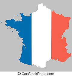 Map of France with an official national flag