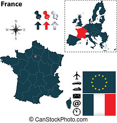 Map of France with European Union