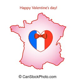 Map of France with flag and heart