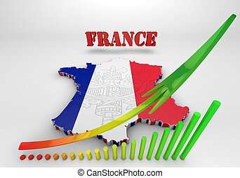 Map of France with flag colors.