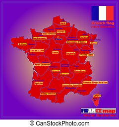 Map of France with French regions.