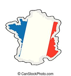 Map of France with its flag