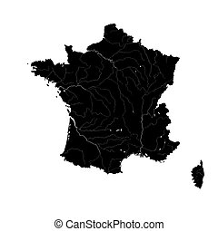 Map of France with rivers.