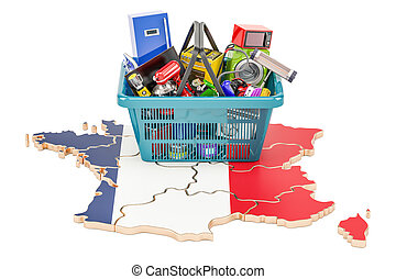 Map of France with shopping basket full of home and kitchen appliances, 3D rendering